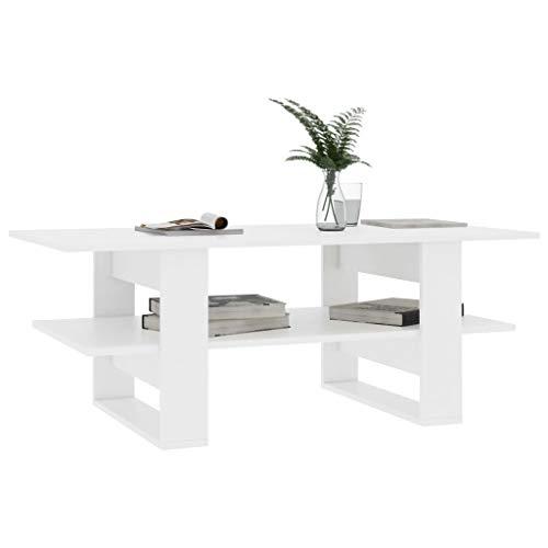 Festnight Tavolino da Salotto Rettangolare Moderno in Truciolato Bianco/Nero/Rovere/Grigio con Ripinano,Tavolino da caffè Rettangolare Moderno,Tavolino per Divano Rettangolare Moderno 110x55x42 cm