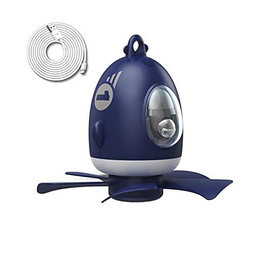 FSLLOVE FANGSHUILIN Flugzeuge 7inch. 5V USB. Powered Air Cooler Ruhiges Zelt Deckenventilator 4 Geschwindigkeit Hängender Lüfter mit LED Lampe Fit für Hausbett Outdoor-Fan (Color : Blue)