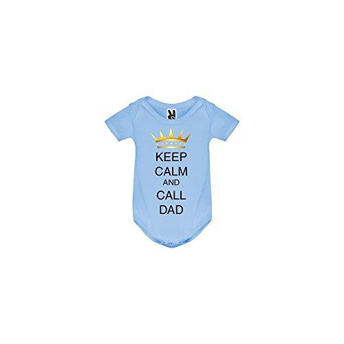 Body bébé - Keep Calm Call Dad - Bébé Garçon - Bleu - 18MOIS