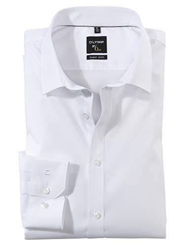 OLYMP Herren Hemd No. 6 Super Slim Fit Langarm, Weiß, 41