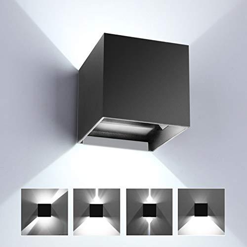 LED Wandleuchte Innen/Aussen, Auf/ab Wandlampe mit Einstellbar Abstrahlwinkel, IP65 Wasserdichte Aluminiumgehäuse Wandbeleuchtung für Wohnzimmer Schlafzimmer Badezimmer Küche Esszimmer 12W 6000K