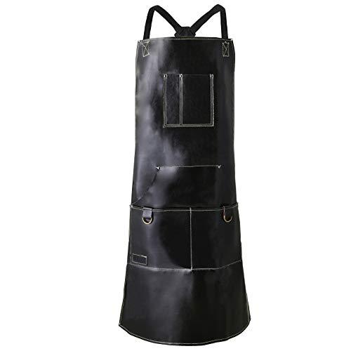QeeLink Grillschürze Lederschürze Kochschürze aus echtem Rindleder mit 6 Taschen und Verstellbaren Riemen für Küche Grill 35 Zoll Schwarz