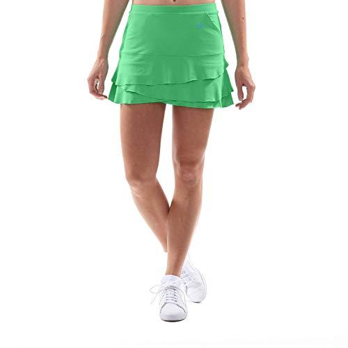 SPORTKIND Jupe Tulipe avec Poches et Shorts intégrés pour Tennis/Hockey sur Gazon/Golf pour Filles et Femmes, Vert, Taille S (36-38)