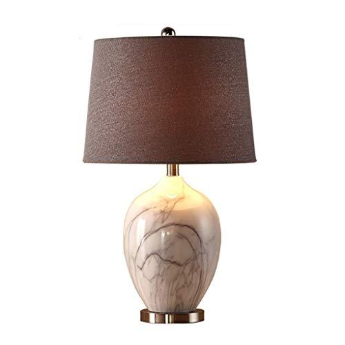 BJLWTQ Lámpara de Mesa de mármol de América, lámpara de Noche Dormitorio lámpara de Mesa Decorativa Europea Creativa de cerámica Sencilla Moderna cálida Sala de Estar
