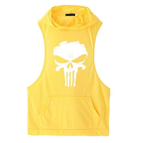 KJHSDNN Débardeur Musculation Homme à Capuche Sport Fitness Gym T-Shirt Haut Gilet sans Manche Casual