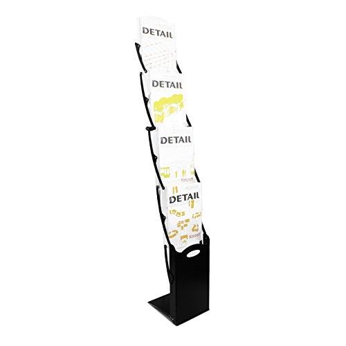 Faltbarer DIN A4 Prospektständer / Bodenprospektständer faltbar Real-Zip (Schwarz) standfest und mobil inkl. Tragetasche