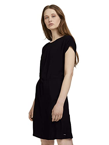 TOM TAILOR Denim Damen 1026590 Basic Kleid, 14482-Deep Black, L