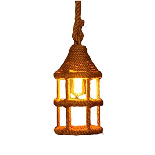 Iluminación colgante de interior Iluminación industrial vintage cuerda lámpara colgante lámpara de techo, lámpara colgante de cuerda de cáñamo rústico, utilizado para bares restaurantes dormitorio luz