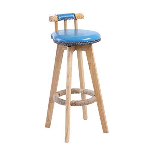 Hohe Hocker, Home Rückenlehne Barstuhl Holzrahmen Drehstuhl Esszimmerstuhl Geeignet für Cafe und Küche und Rezeption (Farbe: A)