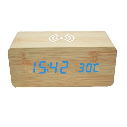 ALEAR Cargador de EnergíA de Carga InaláMbrica para TeléFono MóVil,Sirena Activada por Voz Que Despierta Altavoz Bluetooth Mesita de Noche Cargadores Inalambricos Amanecer Alarma Inducción N