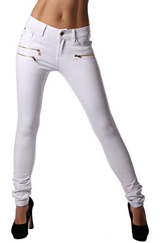 Freyday Modische Bequeme Damen Jeggings Leggings Hüfthose Stretch Slimfit (Weiß, S / 36)