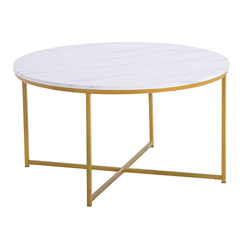 LongJiang Marble Simple Round Coffee Table,Modern Coffee Side Table Laptop Holder,90x90x48.5cm,White