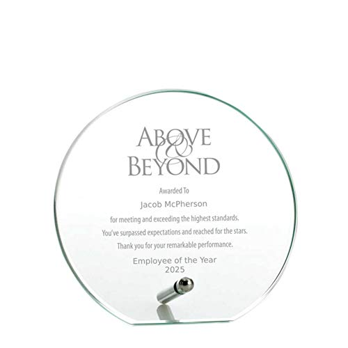 Baudville Engraved Plaque - Jade Glass - Circle - Award for Employees - Personalized Engraving Up to Three Lines and Pre-Written Verse Selection - Comes in Gift Box