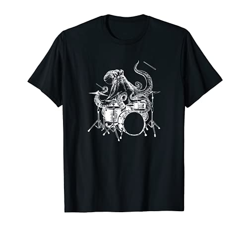 SEEMBO Octopus Playing Drums Drummer Drumming Band T-Shirt