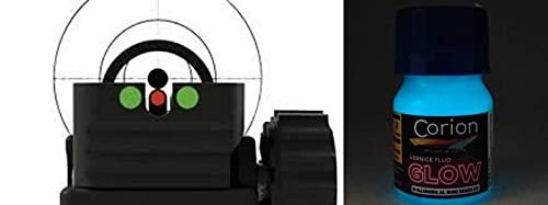 Corion Pintura Luminosa Glow para Visor de mira, binla de Pistola, Rifle, carabina. 20 ml. Brillante súper Brillante para Pintura Punto Rojo, Rojo Dot, Punto Iluminado, Efecto tritium (Azul Ne