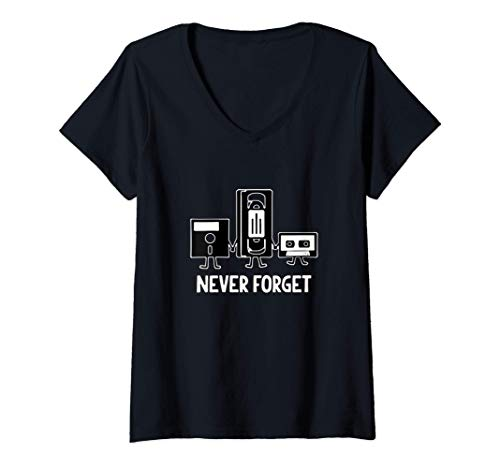 Mujer Never Forget Audio Video Cassette Floppy Disc 70s 80s 90s Camiseta Cuello V