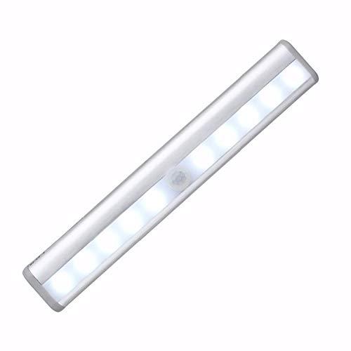 WedDecor Luz para debajo del gabinete con sensor de movimiento PIR inalámbrico LED con tira magnética funciona con pilas para armario, cocina, estantería, escaleras, cajón, blanco cálido, 1 unidad