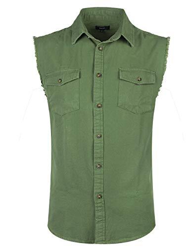 NUTEXROL Mens Sleeveless Denim/Cotton Shirt Biker Vest 2 Front Pockets Army Green 3XL