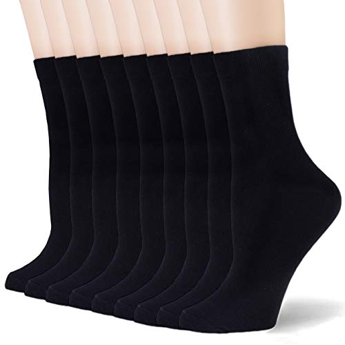 Coumore Women's Black Crew Socks High Ankle Long Dress Work Casual Ladies Thin Socks for Women,US Size 5-9-11,9 Pack