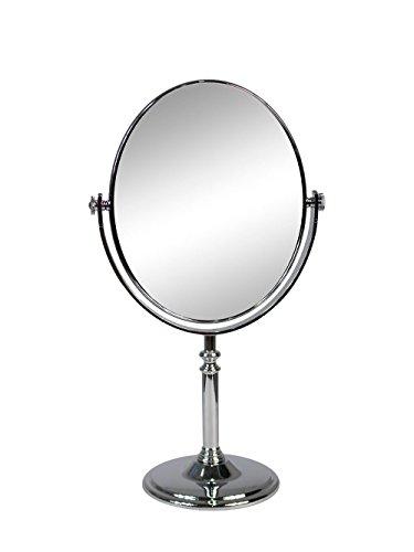 Vetrineinrete Specchio cosmetico Ovale da Trucco con Zoom Girevole da appoggio Specchio di ingrandimento Portatile per Barba rasatura con Base da Tavolo Varie Misure (17x13 cm) E16