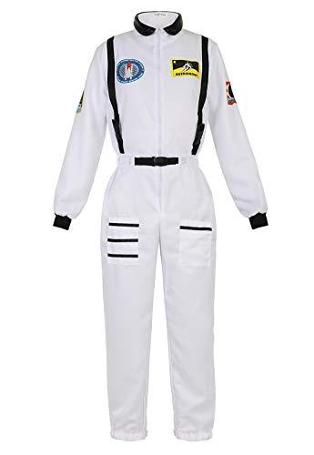 Zhitunemi Disfraz de Astronauta para Halloween, para Mujer, Disfraz, Disfraz, Disfraz, Mono - Blanco - XS/S