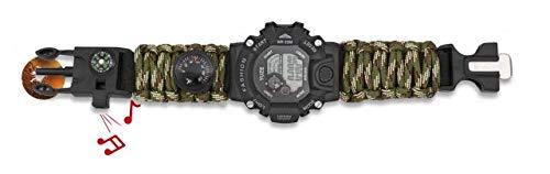 Reloj Tactico Militar Pulsera Digital Paracord Camuflaje Barbaric Incluye silbato, pedernal, brújula y termómetro para Caza, Camping, Supervivencia Albainox 33889-CP + Portabotellas de regalo