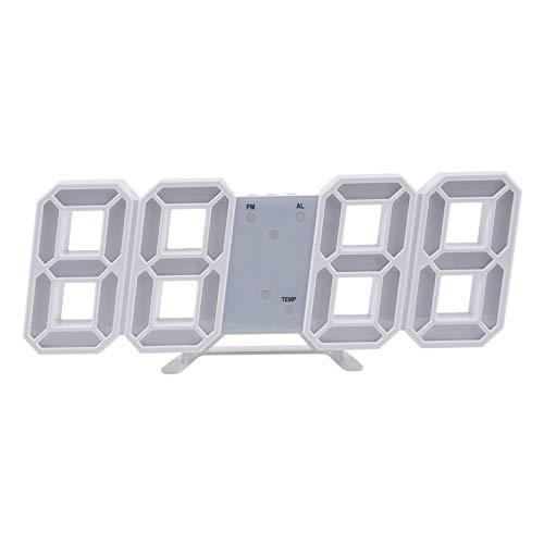 Binchil Reloj de pared digital LED multifunción, tamaño 12/24 h, indicador de tiempo con alarma y función de repetición, brillo ajustable
