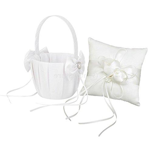PETSOLA Chic Satin Pearl Bowknot Hochzeitszeremonie Set Blumenmädchen Korb Ringkissen