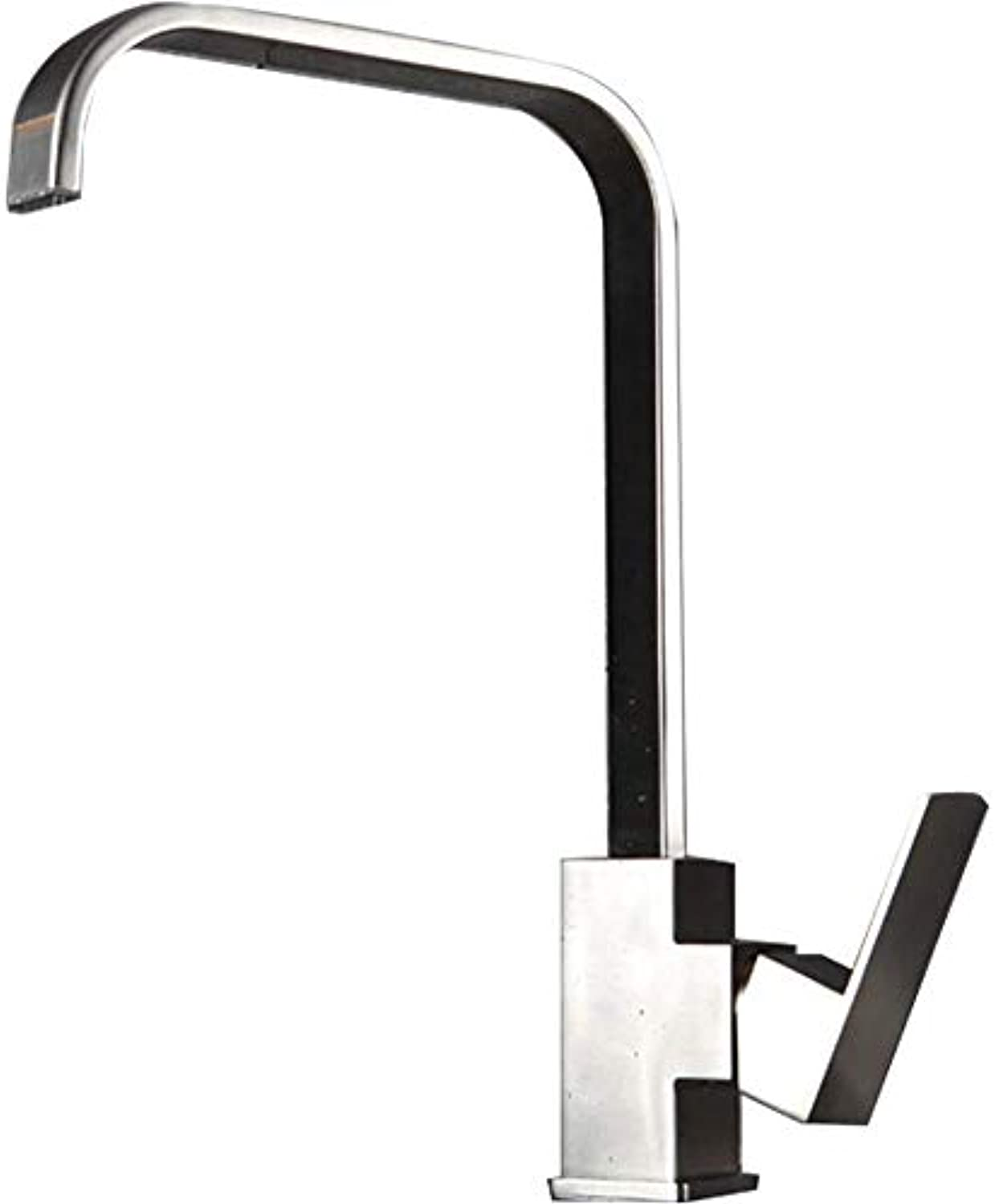 Square Kitchen Faucet Cold and Hot Water Mixer Kitchen Sink Faucet 304 Stainless Steel Square Single Handle Can Rotate 7-Type Lead-Free