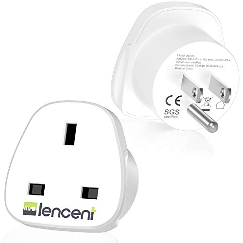 UK to US America Plug Adapter , LENCENT 2 PACK Grounded USA Visitors Travel Converter , Converts all TYPE G Plugs from United Kingdom UK Singapore Malaysia UAE Ireland Malta Hongkong and etc. (Type B)