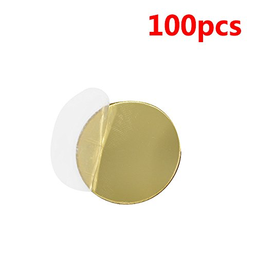 Merssavo 100 Pcs Miroir Stickers Muraux Or Ronde Forme Art Decal Home Room Decor 3D DIY