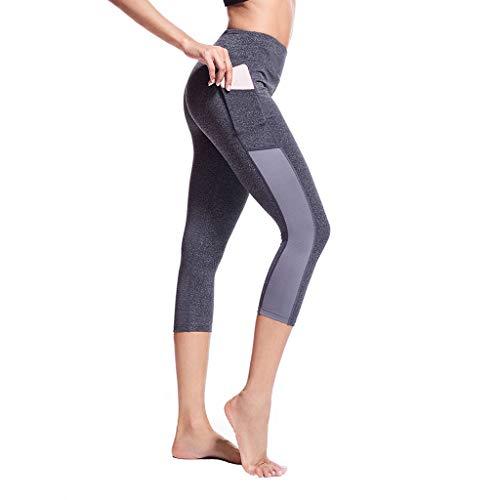 Lulupi Damen Sporthose 3/4 Leggings Yogahose mit Taschen Fitnesshose Laufhose Lange Blickdicht Leggins Tights Slim Fit Jogginghose Trainingshose