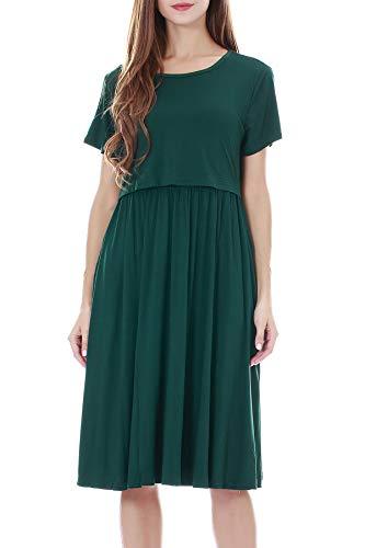 Smallshow Damen Lässiges Kurzarm Stillkleid Umstandskleid für Stillen Deep Green Medium