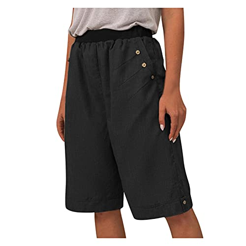Lomelomme Shorts Damen Kurze Hose Sommer Locker Leinen Stoffhose Elastische Waist Tunnelzug Freizeit Shorts