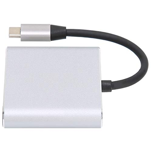 Concentrador 3 en 1 tipo C, estación de acoplamiento USB 3.0 tipo C multipuerto gris para MacBook para iPad