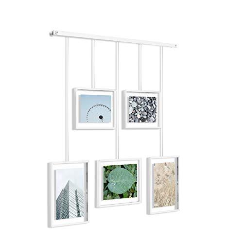 Umbra Exhibit Foto Collage Flexibles Bilderrahmen-Set zur Horizontalen und Schrägen Anbringung, für 5 Photos, Kunstdrucke, Bilder, 10 x 15, 13 x 18 und 20 x 25 cm, Weiß, One-Size