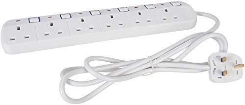 Cable alargador de red de 6 vías con conmutación individual, 2 m, 13 A, Elpine