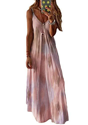 YMING Frauen Batik-Print Strandkleid V-Ausschnitt Maxikleid Ärmellos Kleid Rosa 4XL