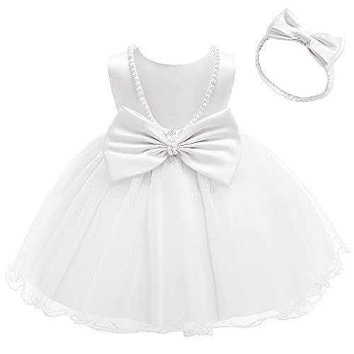 NSSMWTTC Baby Girl Easter Backless Dresses Bowknot Toddler Kid Pearls Ruffles Christmas Formal Dress Tutu Frocks (White,80)