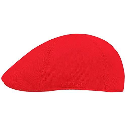 Stetson Texas Cotton Flatcap mit UV Schutz 40+ - Schirmmütze aus Baumwolle - Unifarbene Mütze Frühjahr/Sommer rot M (56-57 cm)