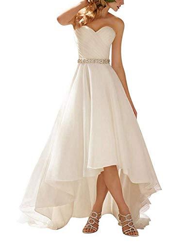 JAEDEN Brautkleid Hochzeitskleider Vintage Damen Herzausschnitt Vorne Kurz Hinten Lang Weiß EUR36