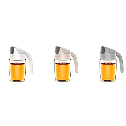 Dispensador de Aceite Botella de Vidrio Juego de dispensador de vinagre de Aceite de 300 ml Contenedor de condimentos a Prueba de Fugas con Tapa automática y tapón Auto Flip