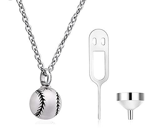 Collar de plata de ley S925 con colgante creativo de urna de béisbol