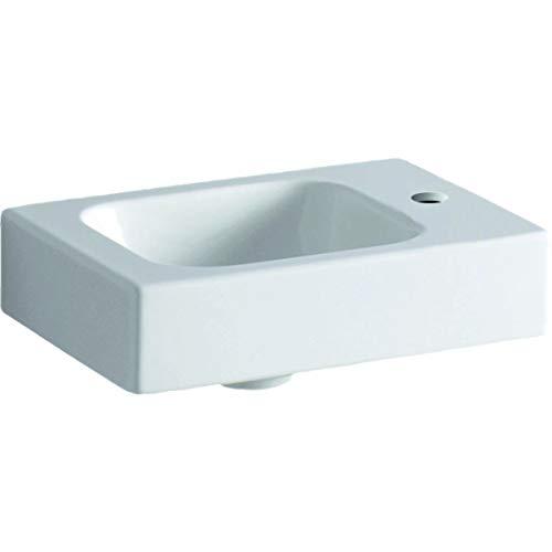 Geberit Lavabo Icon XS 38x28cm, Blanco, con Agujero para Grifo a la Derecha, Color: Blanco, con KeraTect - 124736600