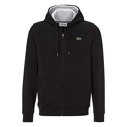 Lacoste Herren SH7647 Kapuzenjacke, Männer Zip Hoodie,Kapuzenpullover,Sweatjacke, Regular Fit,Black/Pitch Chine(E89),X-Small (2)