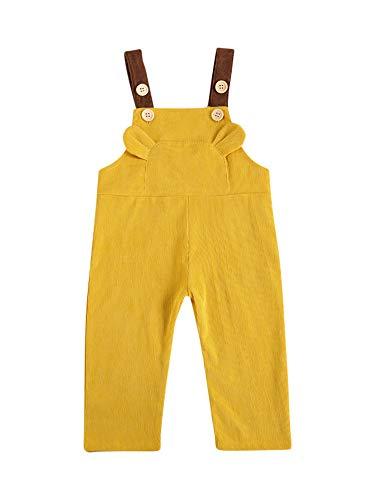 WangsCanis Mono de niño de terciopelo acanalado liso para pantalones con tirantes. amarillo 2-3 años