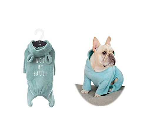 Khemn 丨Bulldog Custom-Clothing丨Blue Soft-Cotton Dog Pajamas, Dog Jumpsuit, Dog Rabbit-Ear Hoodies for French Bulldog/English Bulldog/American Pit Bull Terrier/Pug (XXL)