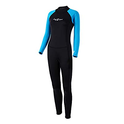 lockys sports Womens Full Wetsuits,Full Body Diving Suit Premium Neoprene Long Sleeve Long Leg BackZip with Adjustable Collar for Diving Surfing Snorkeling for Women (X-Large)