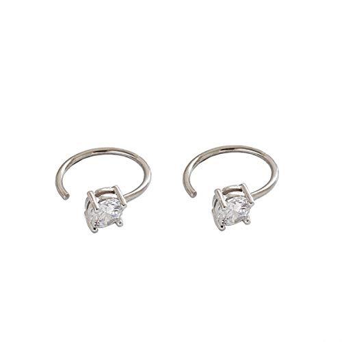 ESBERRY Massives Sterling Silber Ohrringe Einfacher Mini Mikro-eingelegter Zirkon Ohrringe Natürlicher Kreativ Beliebt Handgemachter Einzigartiger Schmuck Geschenk für Frauen