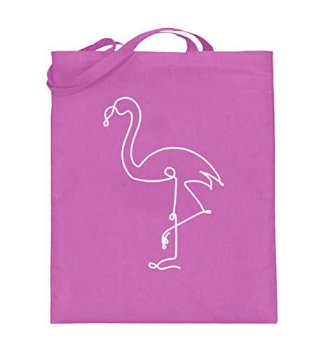 Chorchester Flamingo für Fans von Pinken Flamingos - Jutebeutel (mit langen Henkeln) -38cm-42cm-Pink